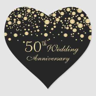 Golden confetti 50th Wedding Anniversary Sticker
