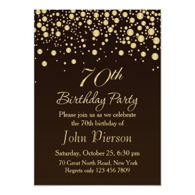 golden confetti 70th birthday party invitation zazzle ca