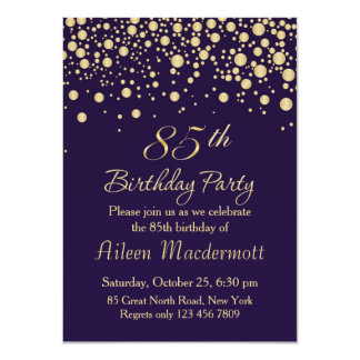 Golden confetti 85th Birthday Party Invitation