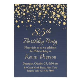 Golden confetti 85th Birthday Party Invitation