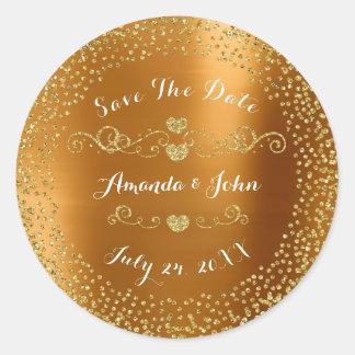 Golden Confetti Glitter Save the Date Metallic VIP Classic Round Sticker