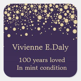 Golden confetti on purple 100 Birthday Square Sticker