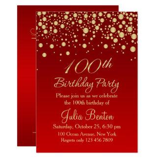 Golden confetti on red 100th Birthday Invitation