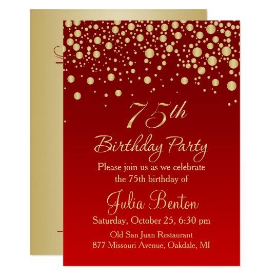 Golden confetti on red 75th Birthday Invitation