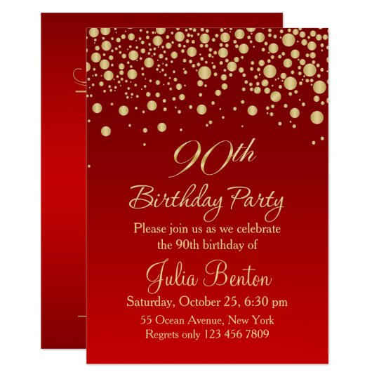 Golden confetti on red 90th birthday invitation zazzle golden confetti on red 90th birthday invitation stopboris Image collections