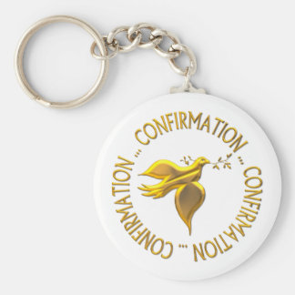 Golden Confirmation and Holy Spirit Basic Round Button Keychain