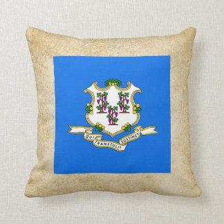 Golden Connecticut Flag Throw Pillow