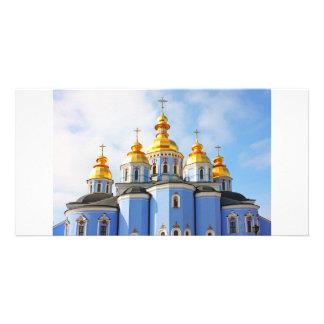 Golden copes of in cathedral in Kiev Custom Photo Card