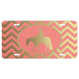 Golden Coral Chevrons Western Pleasure Horse License Plate