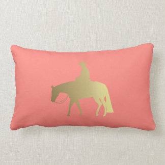 Golden Coral Chevrons Western Pleasure Horse Lumbar Pillow