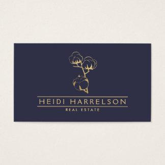 Golden Cotton Stem on Dusky Blue Business Card
