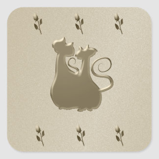 Golden Couple Cats Floral Sandstone Square Sticker