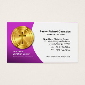 Golden Cross Christian Symbol Minister/Pastor Business Card