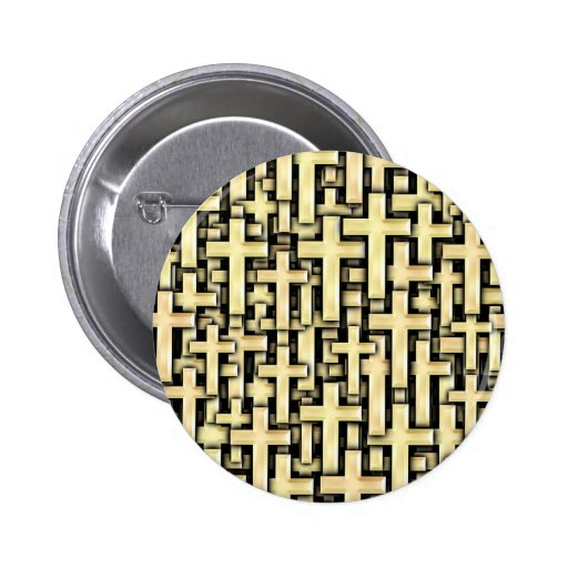 Golden Crosses Pinback Buttons