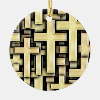 Golden Crosses Round Ceramic Ornament