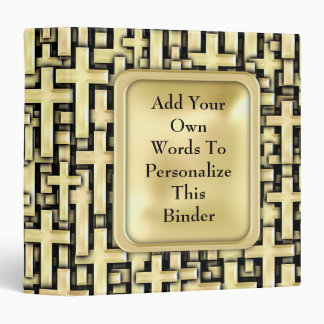 Golden Crosses Vinyl Binders