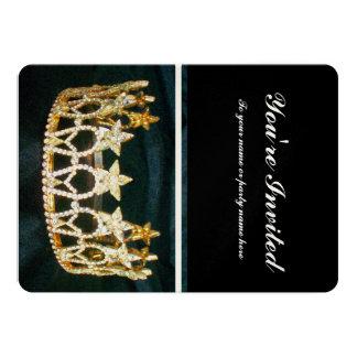 Golden Crown and Black Metallic Invite
