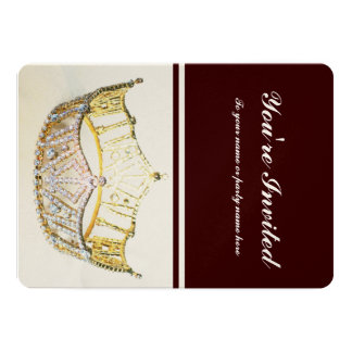 Golden Crown and Brown Metallic Invite