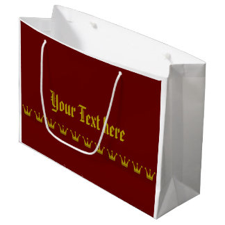 Golden Crown Border + your background & text Large Gift Bag