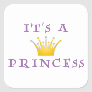 """Golden Crown """"It's a Princess"""" with Wizard font Square Sticker"""