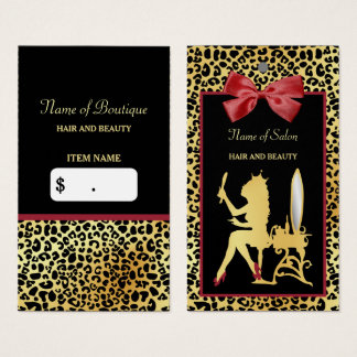 Golden Crown Leopard Print Red Bow Salon Hang Tag Business Card