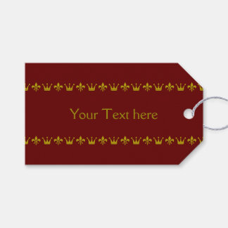 Golden Crown Lily Border + your background & text Pack Of Gift Tags