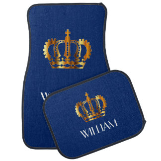 Golden Crown Personalized Name Blue Car Liners