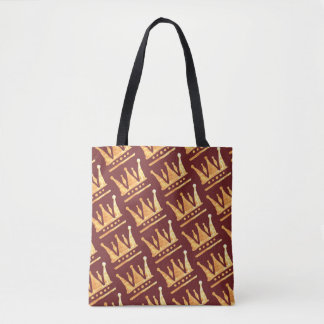 Golden Crown Round Badge Tote Bag