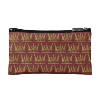 Golden Crown Small Cosmetic Bag