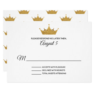 Golden Crown Wedding RSVP Card