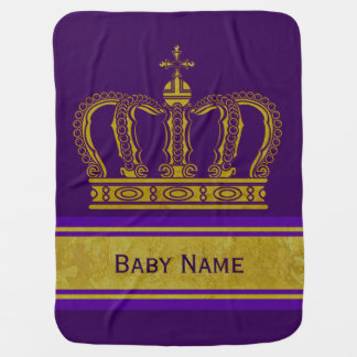 Golden Crown + your Backgr. & Baby Name Baby Blanket