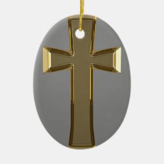 Golden Crucifix Oval Ornament
