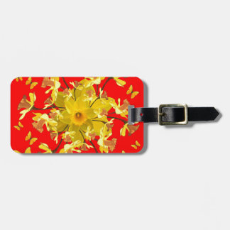 Golden Daffodils Butterfly Red Art Design Luggage Tag