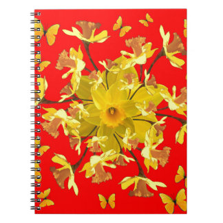 Golden Daffodils Butterfly Red Art Design Spiral Note Book