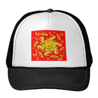 Golden Daffodils Butterfly Red Art Design Trucker Hat
