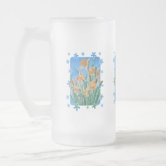 Golden Daffodils With Flower Border Frosted Glass Beer Mug