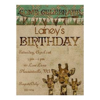 Golden Damask Giraffes  Birthday Invitation
