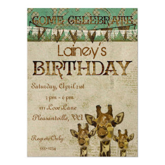 Golden Damask Giraffes  Birthday Invitation