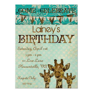 Golden Damask Giraffes Blue  Birthday Invitation