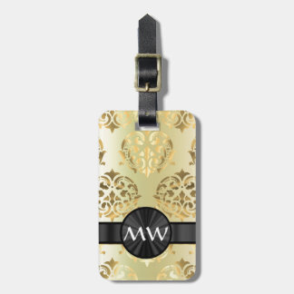 Golden damask luggage tag