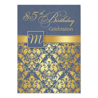 Golden damask on blue 85th Birthday Party Invite