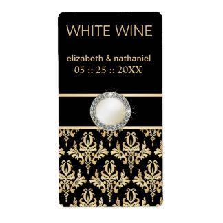 Golden Damask w Brooch Wedding Favor Wine Labels