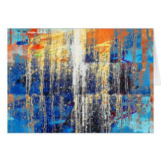 Golden Dawn, Abstract Art, Grunge Rustic Blue Card