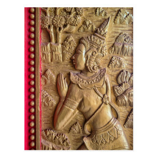 Golden Decorated Door Art at Buddhist Temple, Laos Postcard