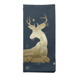 Golden Deer and Snowflakes Napkins