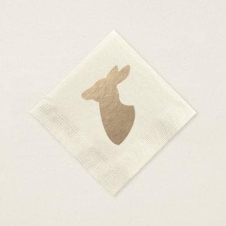 Golden Deer Doe Silhouette Disposable Napkin