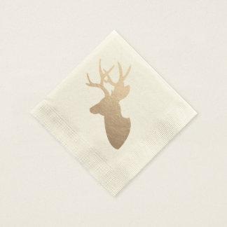 Golden Deer Silhouette Paper Napkin