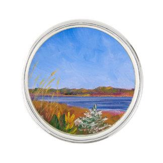 Golden Delaware River Lapel Pin