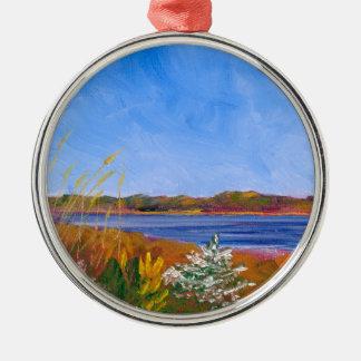 Golden Delaware River Metal Ornament