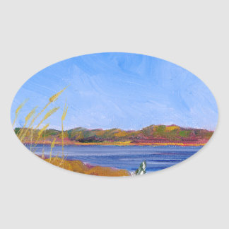 Golden Delaware River Oval Sticker